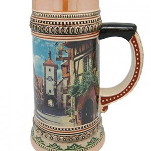 Ceramic Beer Stein Tankard German Rothenberg Village Scene (1 Liter)