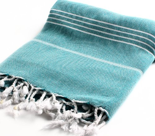 Cacala 100% Cotton Pestemal Turkish Bath Towel, 37 x 70″, Aqua