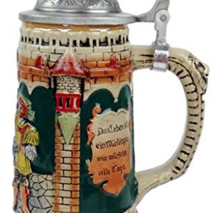 Classic Germany Castle Festive Scene Engraved Beer Stein with Ornate Metal Lid